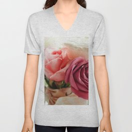 Wonderful Lovely Corsage Of Violet Flowers Zoom UHD Unisex V-Neck