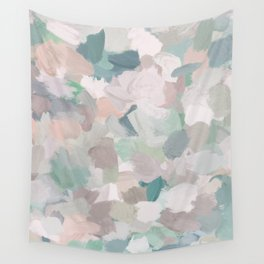 Mint Seafoam Green Dusty Rose Blush Pink Abstract Nature Flower Wall Art, Spring Painting Print Wall Tapestry