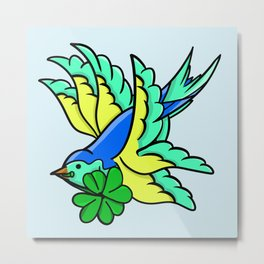 Swallow With Lucky Four Leaf Clover Metal Print