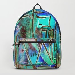Neon Blue Houses Backpack