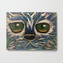 Blue and silver cat face Metal Print