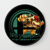 smash bros Wall Clocks featuring Bowser - Super Smash Bros. by Donkey Inferno