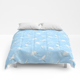 Flying birds above snake water Comforters