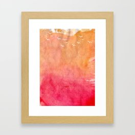 Coral Watercolor Beach Framed Art Print