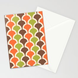 Classic Fan or Scallop Pattern 413 Orange Green and Brown Stationery Cards