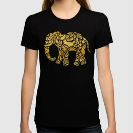 Floral Elephant in Gold T-shirt