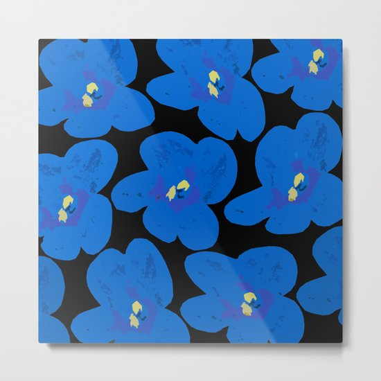 Blue Retro Flowers on Black Background Metal Print