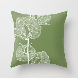 Cotton in Green Throw Pillow