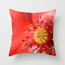 Macro of red Poppy flower Throw Pillow