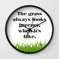 grass Wall Clocks featuring GRASS by C O R N E L L