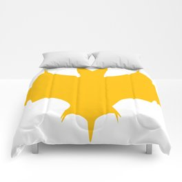 Orange-Yellow Silhouette Of a Bat  Comforters