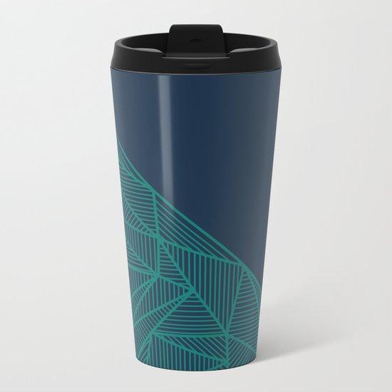 B Rays Geo Pine Blue Metal Travel Mug