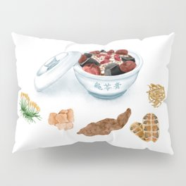 Watercolor Illustration of Chinese Snack - Tortoise Jelly | 龟苓膏 Pillow Sham