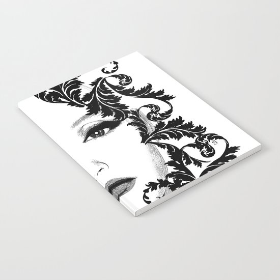 Black and white floral face ornament Notebook