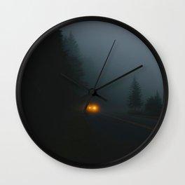 Headlight On A Misty Mountain Road Wall Clock