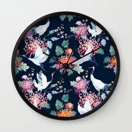 Japanese crane painting vintage illustration pattern Wall Clock