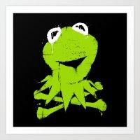 kermit Art Prints featuring Pochoir - Kermit by Krikoui