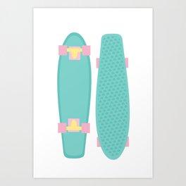 Pastel Skateboards Pattern Art Print