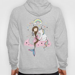 Mermaid & Unicorn White background Hoody