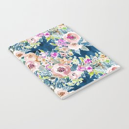 NAVY SO LUSCIOUS Colorful Watercolor Floral Notebook