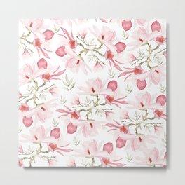 Hand painted blush pink green watercolor magnolia pattern Metal Print