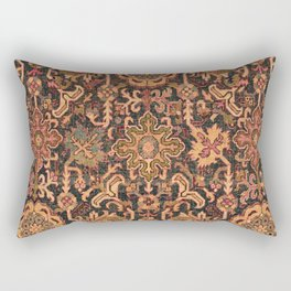 Floral Medallion I // 18th Century Colorful Blue Lime Green Pink Sapphire Plum Burlap Brown Pattern Rectangular Pillow