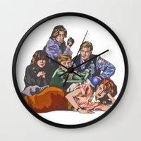 breakfast club Wall Clocks featuring The Breakfast Club by Heidi Banford