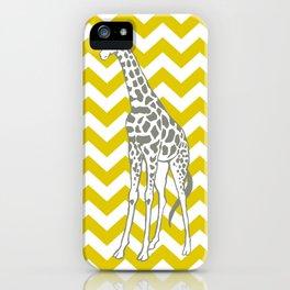 Golden Poppy Safari Chevron with Pop Art Giraffe iPhone Case