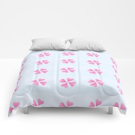 heart 10 – Heart flower –  Pink and blue Comforters
