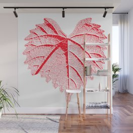 backlight leaf drawing, red Wall Mural