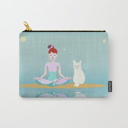 Little girl in lotus pose and white cat Carry-All Pouch