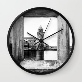 Picture Perfect | Black and White Collioure France Medieval Church Tower Scenic View Marina Wall Clock