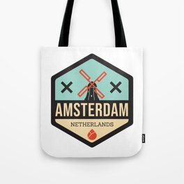 Amsterdam Windmill Badge XXX Tote Bag