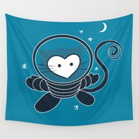 space cat Wall Tapestries featuring Space Cat by Compassion Collective