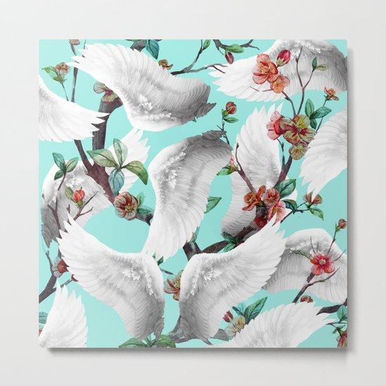 tropical wings flowers Metal Print