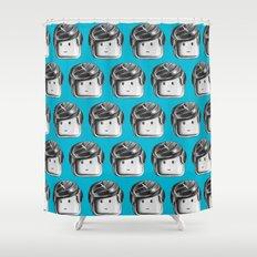 Minifigure Pattern – Blue Shower Curtain