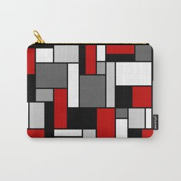 Mid Century Modern Color Blocks in Red, Gray, Black and White Carry-All Pouch