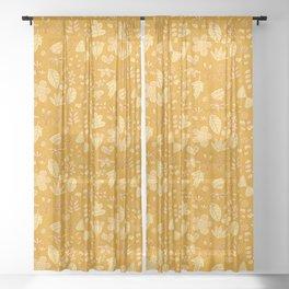 Garden Scatter - Saffron & Paprika (floral pattern) Sheer Curtain