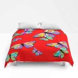 Rainbow Colored Butterflies Red art Design Comforters