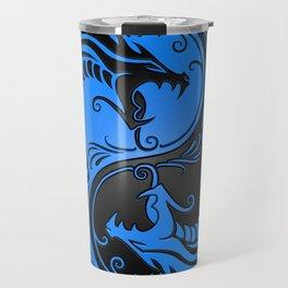 Blue and Black Yin Yang Dragons Travel Mug