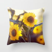 sunflowers Throw Pillows featuring Sunflowers by elle moss