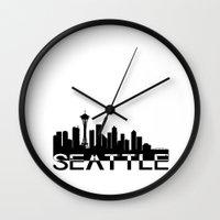 seattle Wall Clocks featuring Seattle by Allison Kiloh