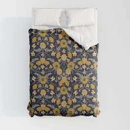 Navy Blue, Turquoise, Cream & Mustard Yellow Dark Floral Pattern Comforters