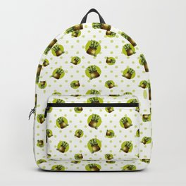 """Green Lemon Pattern Succulents Polka Dots"" Backpack"