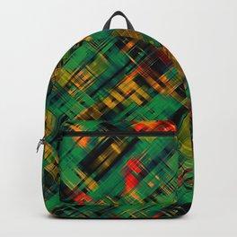 Abstract retro modern diagonal scribbles dark bottle green black orange Backpack