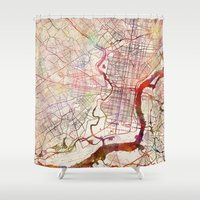 philadelphia Shower Curtains featuring Philadelphia by MapMapMaps.Watercolors