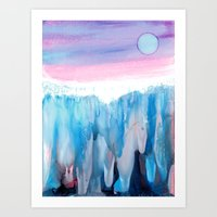 Abstract Landscape Painting - Ice cascades Art Print