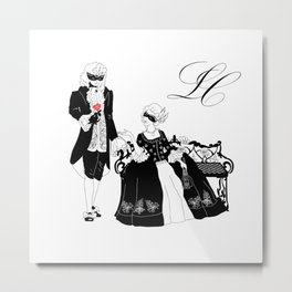 Man and woman silhouettes at the carnival Metal Print