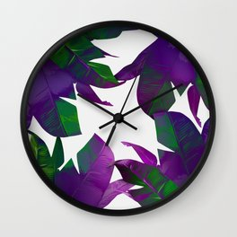 Tropical Palm Purple Wall Clock