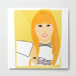 Knock Knock! Momo Yellow Metal Print
